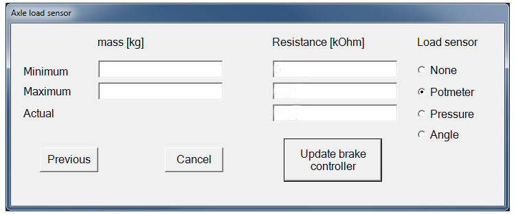 Brake controller software: enter for axle load sensor with the min and max weight trailer