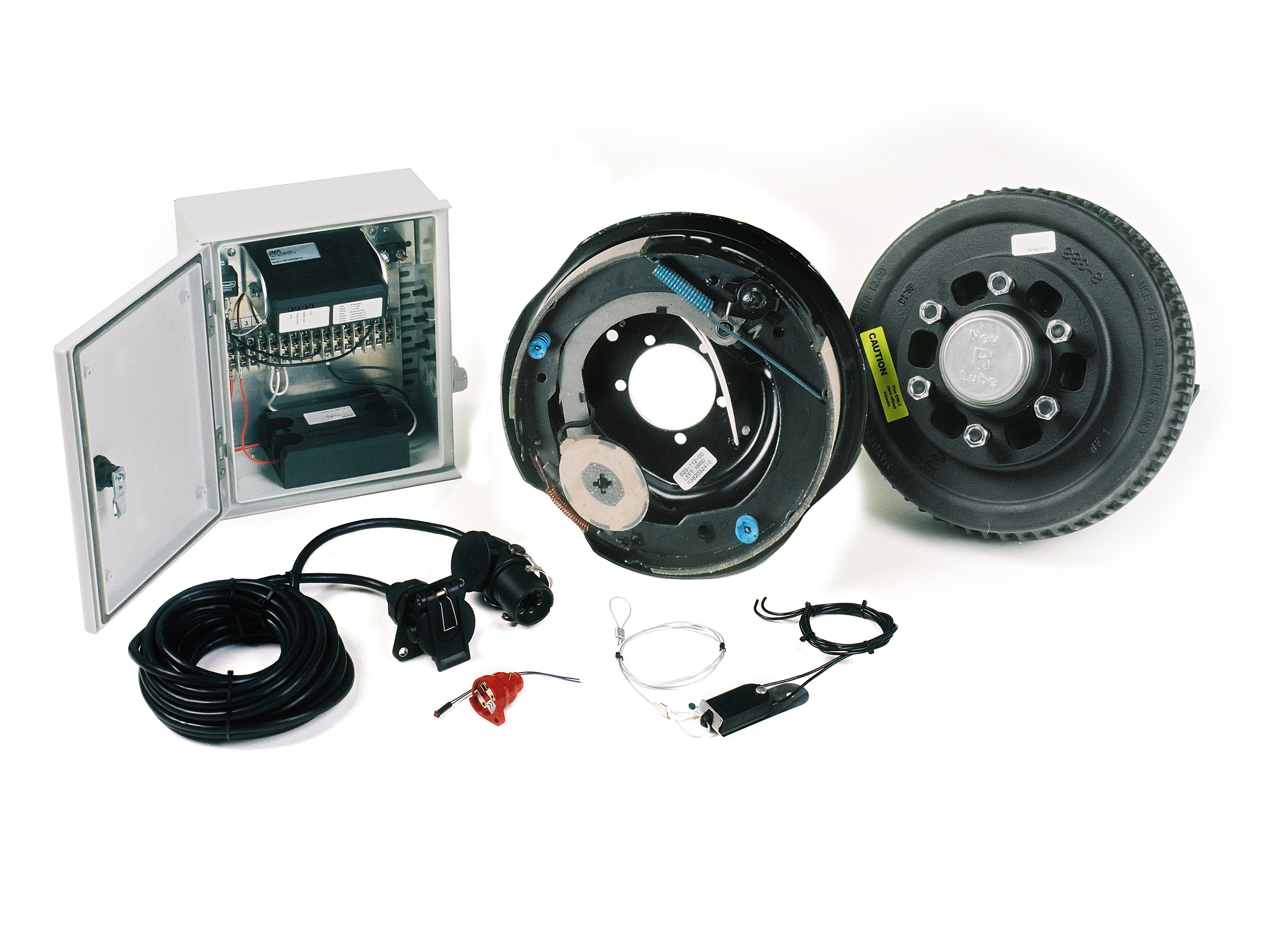 The components of electric brake system with electric brakes consists of a control box with brake controller, power cable, brake drum with back plate and control led