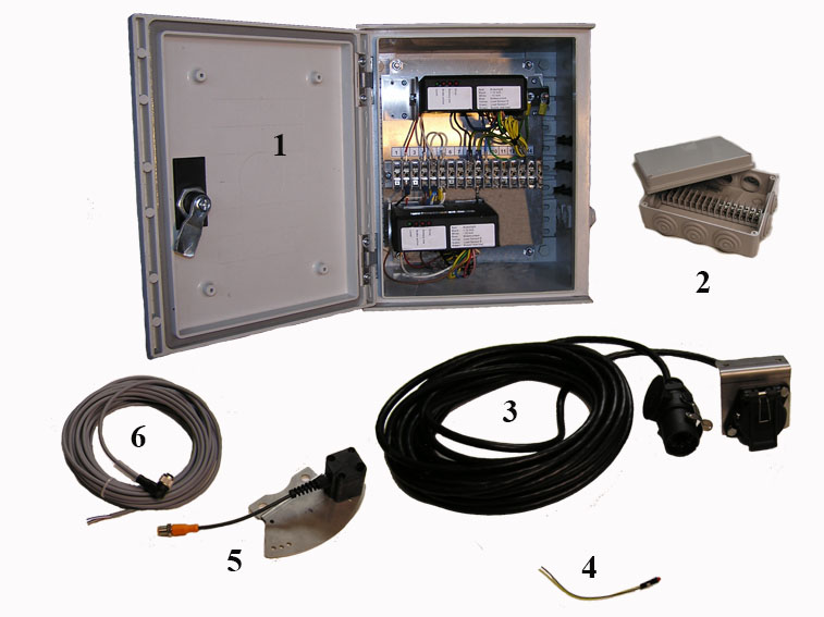 The necessary components of a full trailer for electric brake system with electric brakes